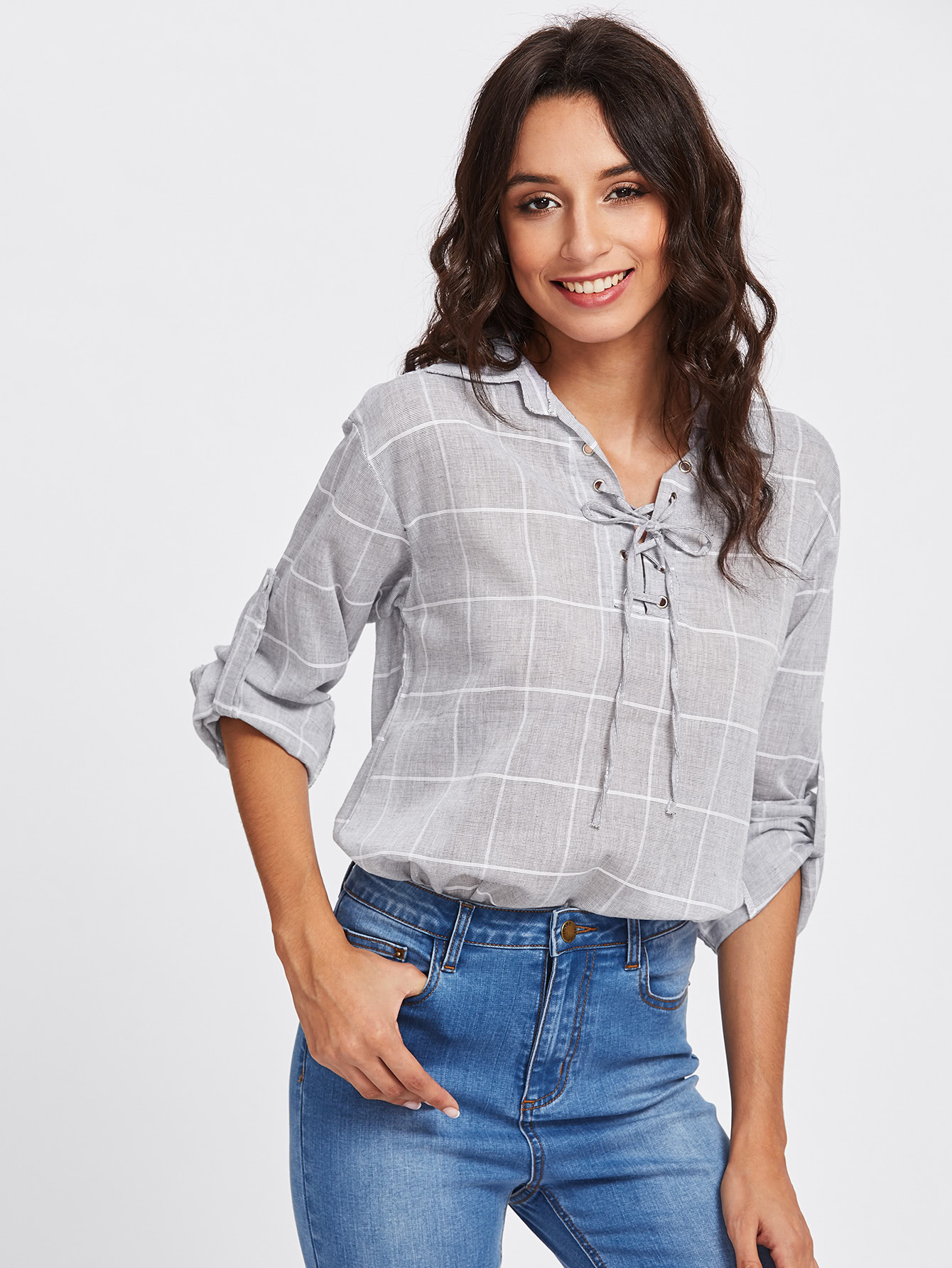 Rolled Sleeve Checked Eyelet Lace Up Blouse колонка delux dls q7ub