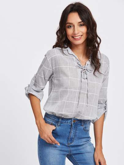 Rolled Sleeve Checked Eyelet Lace Up Blouse