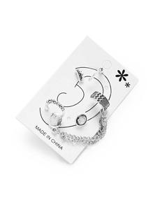 Crown & Chain Design Earring Set