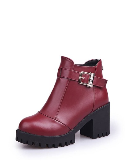 Buckle Decorated Platform Ankle Boots