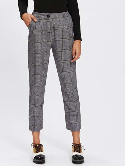 Button Detail Plaid Crop Pants