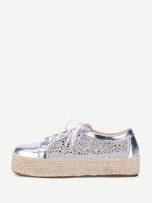 Metallic Lace Up Flatform Sneaker