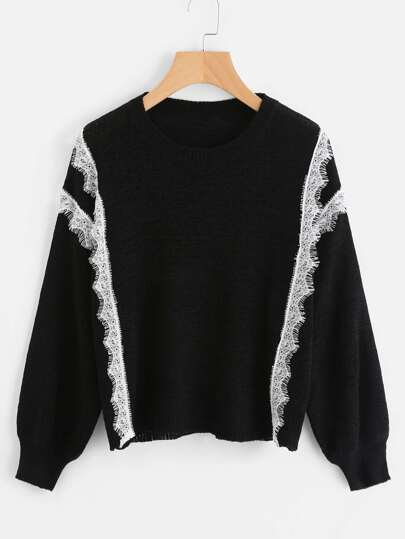 Eyelash Lace Trim Sweater
