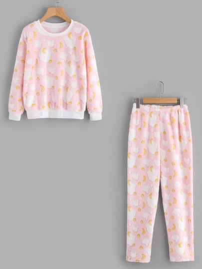 Moon Fleece Pajama Set