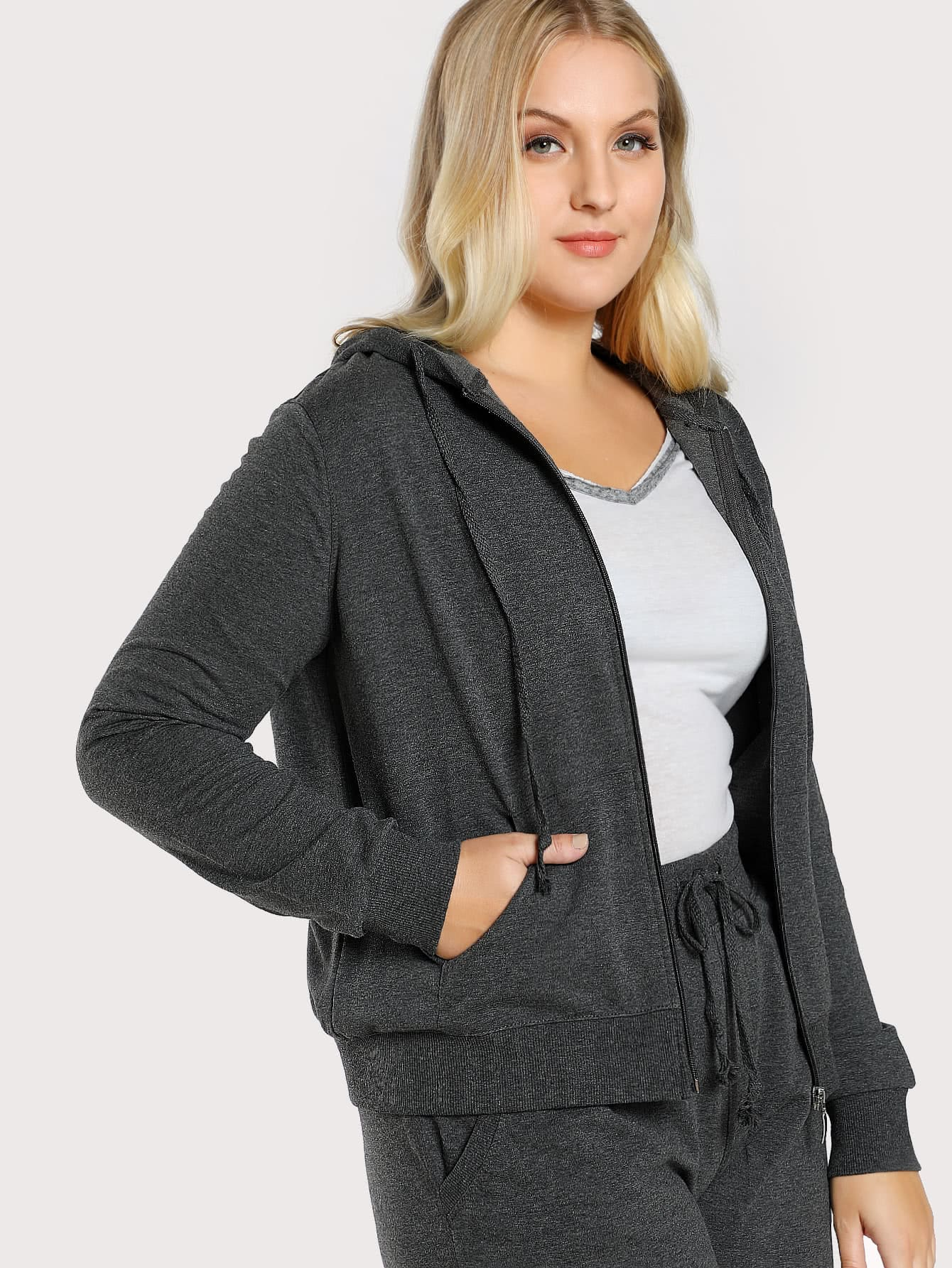 Zip Up Heather Knit Hoodie Jacket
