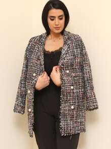 Frayed Edge Tweed Longline Blazer