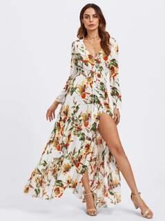 Tasseled Tie Shirred Waist Botanical Dress