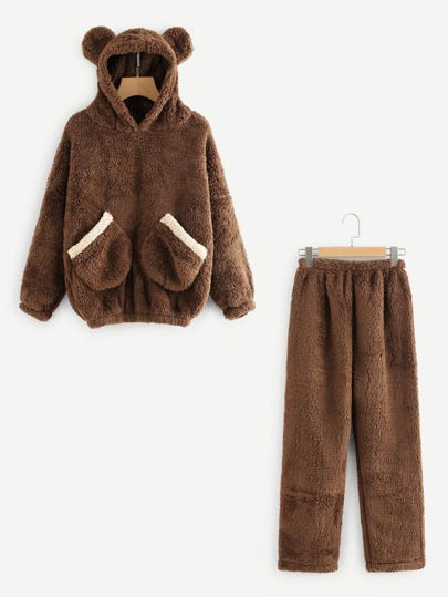 Bear Ear Hooded Top And Pants Pajama Set