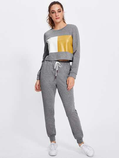 Color Block Marled Sweatshirt & Sweatpants Set