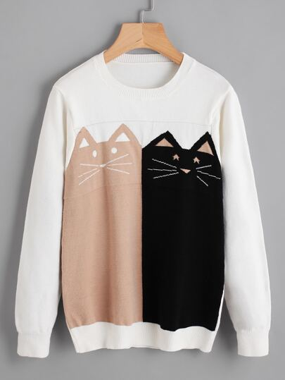 Contrast Cat Knit Sweater