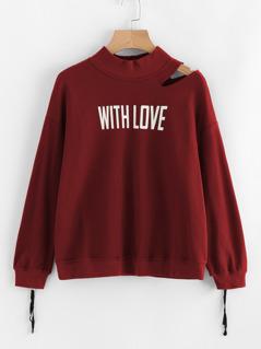 Cutout Shoulder Zip Cuff Graphic Sweatshirt