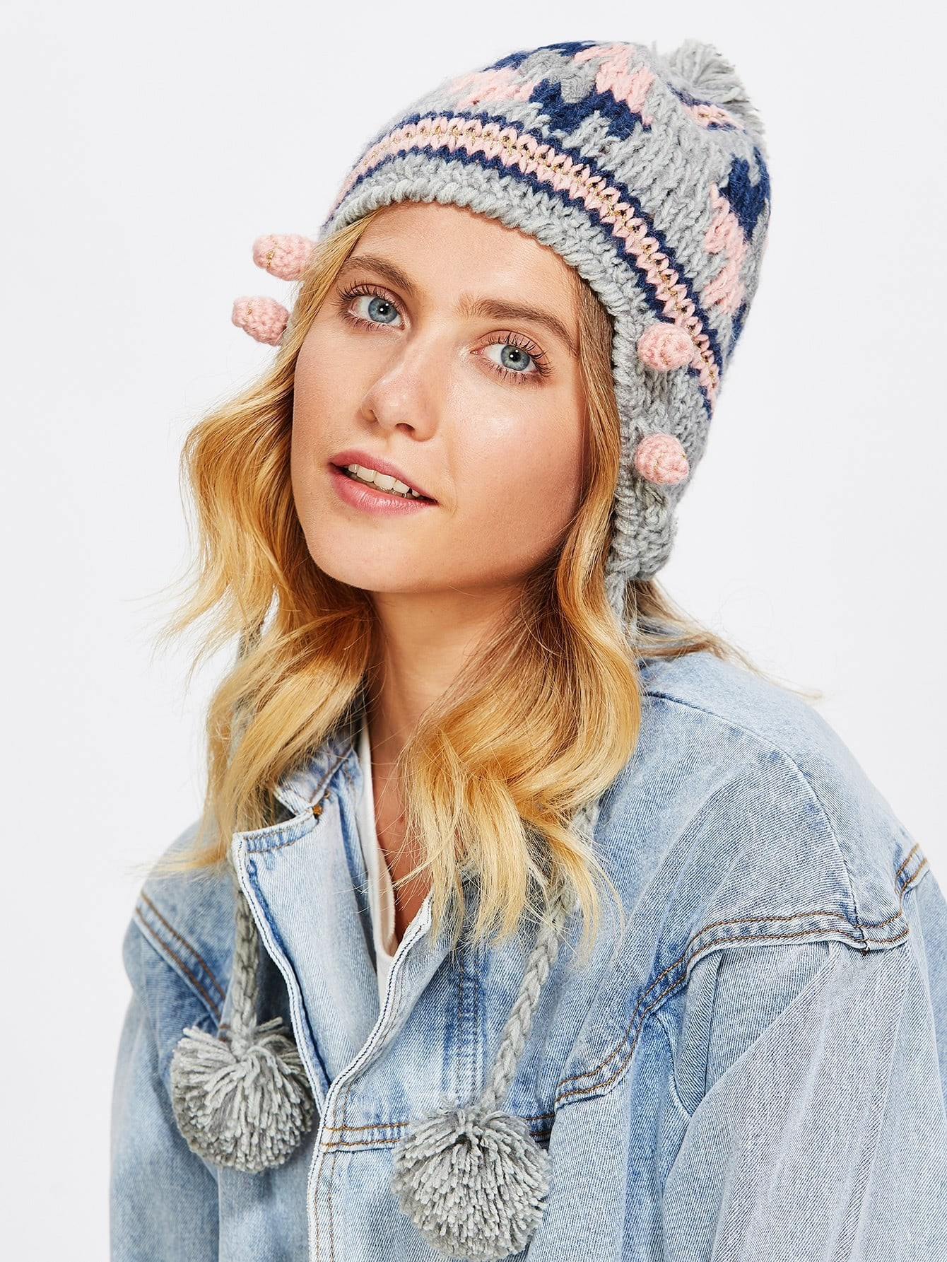 Image of Braided Detail Pom Pom Beanie