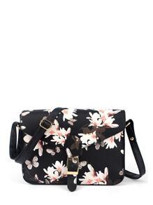 Flower Printed Crossbody Bag