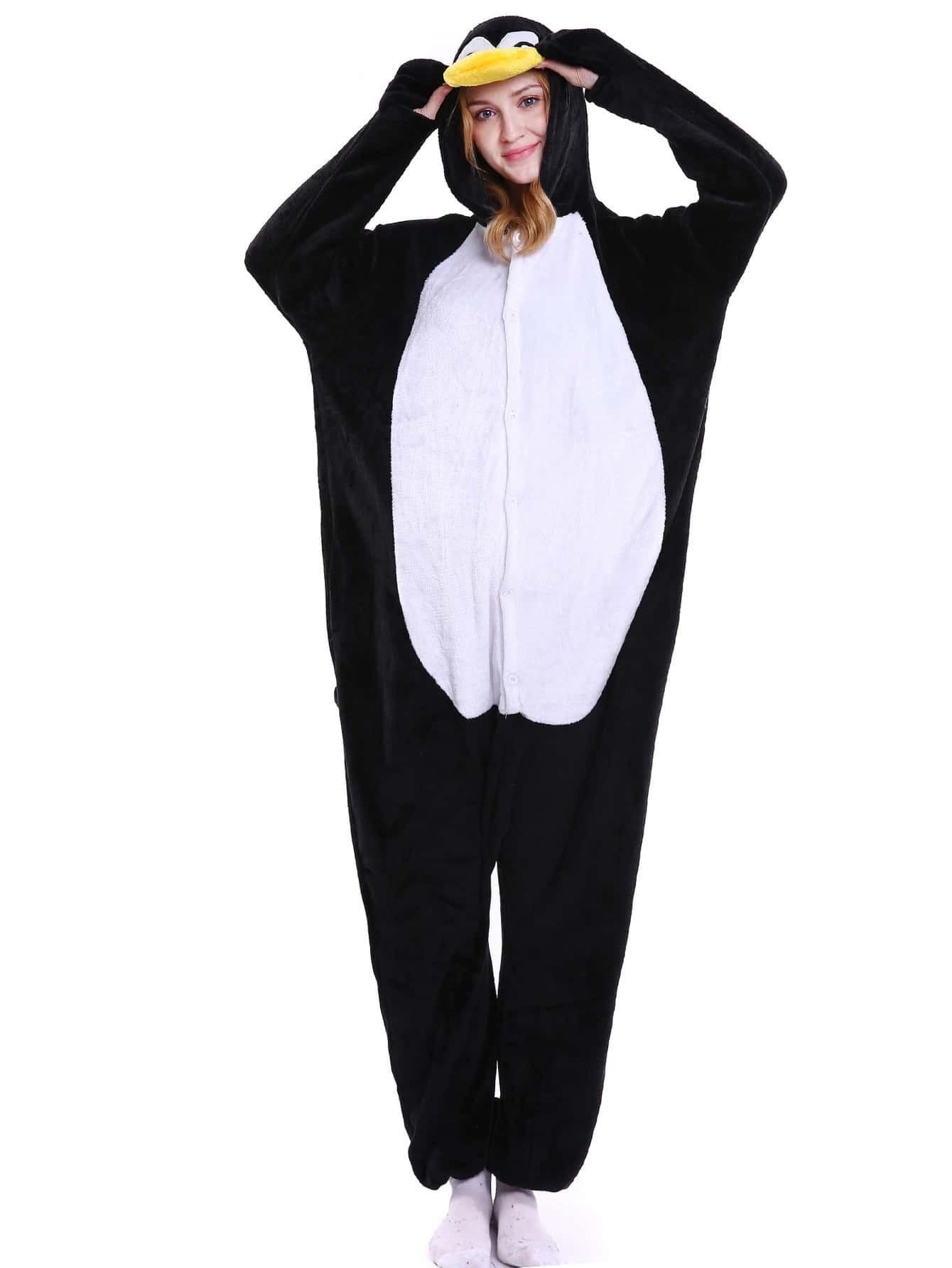 Drop Crotch Plush Penguin Onesie drop crotch loose two tone pants