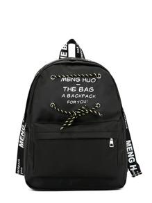 Letter Print Lace Up Zipper Pocket Backpack