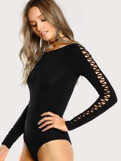 Side Sleeve Lace Up Bodysuit BLACK