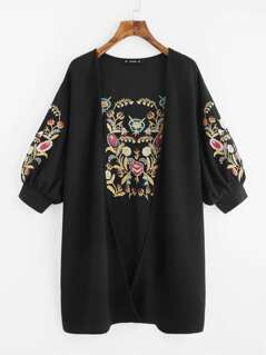 Lantern Sleeve Open Front Embroidered Coat