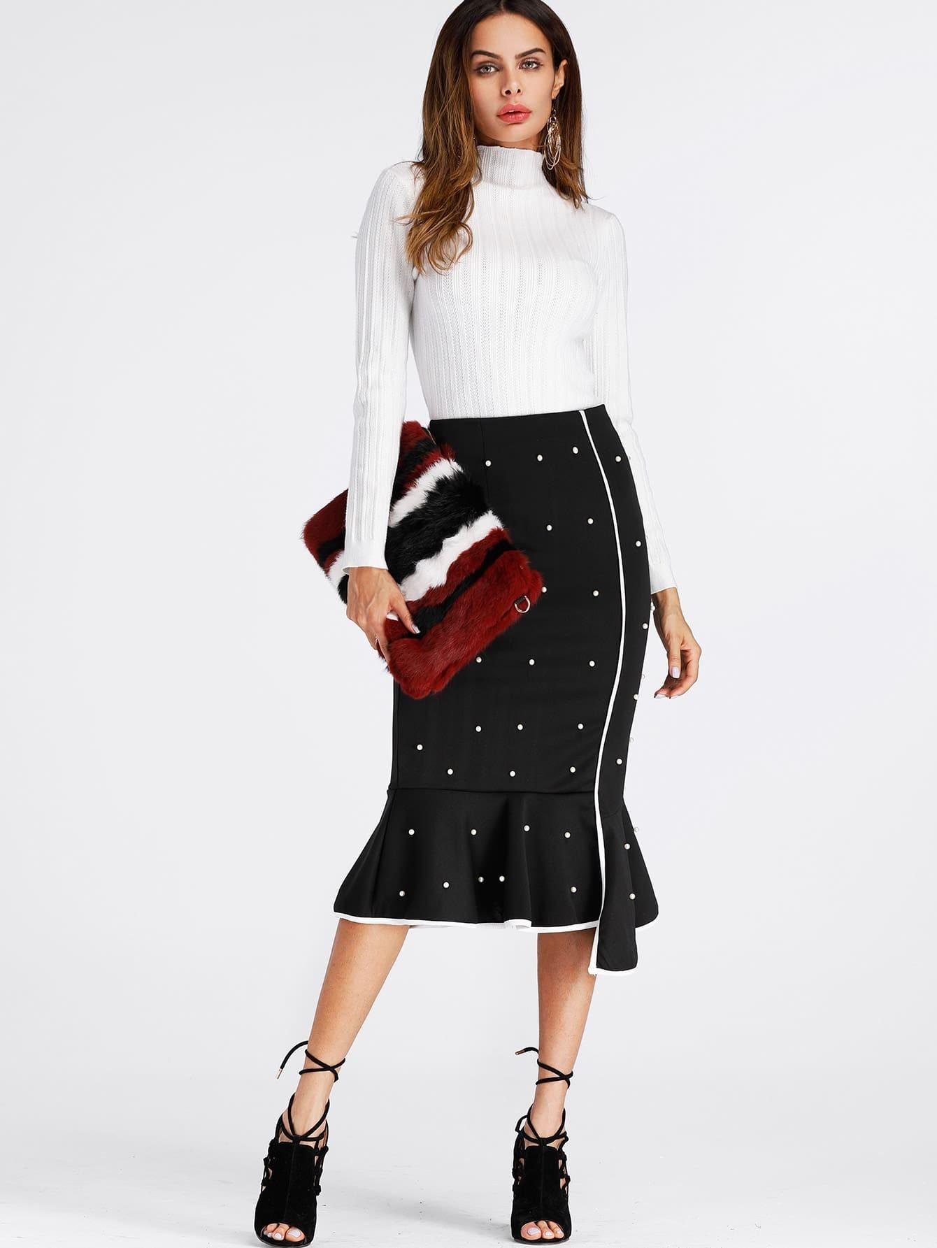 Pearl Beaded Frill Hem Ringer Skirt jeunesse luminesce daily moisturizing complex new free u s ship
