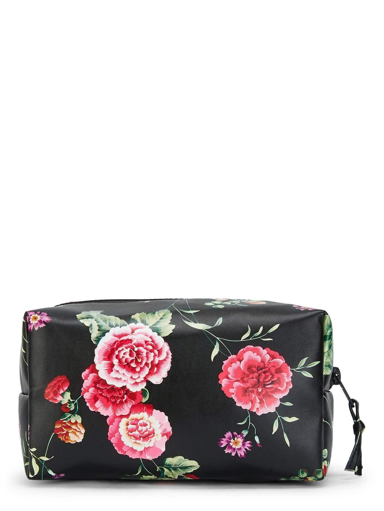 Flower Print Zipper Makeup Bag