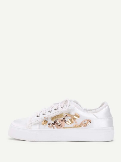 Raw Trim Lace Up Sneakers With Sequin