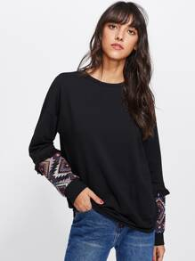 Embroidered Patch And Fringe Cuff Sweatshirt