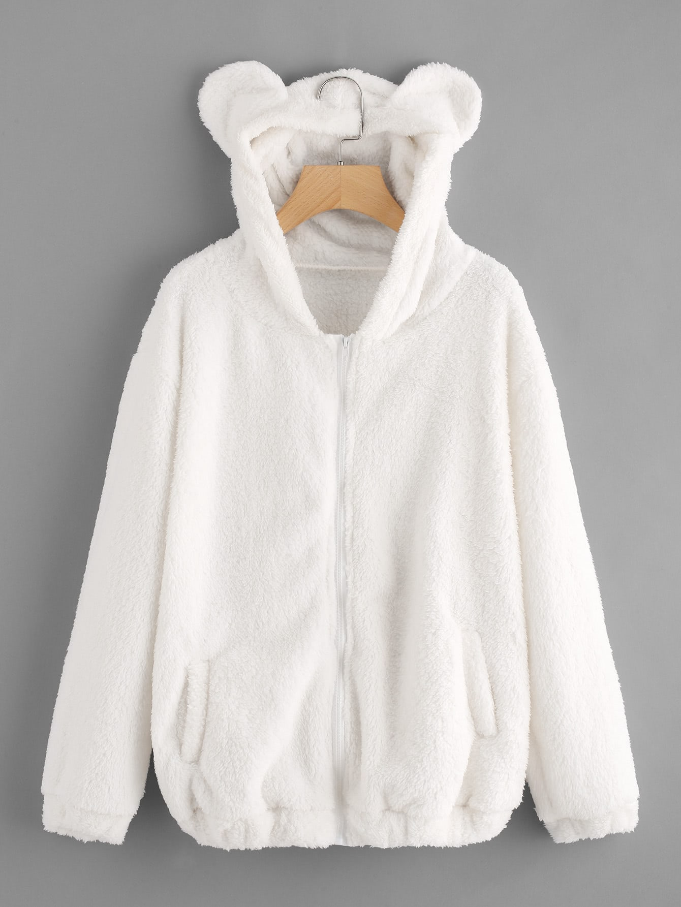 Faux Shearling Hooded Bear Coat dotfashion faux fur hooded shearling lined coat 2017 grey zipper long sleeve top female single breasted knee length coat