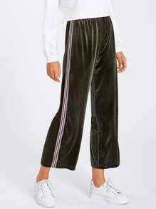 Stripe Tape Side Velvet Wide Pants