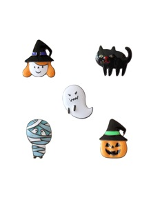 Ghost & Pumpkin Design Brooch Set
