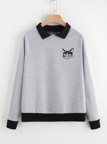 Contrast Collar Cat Print Pullover