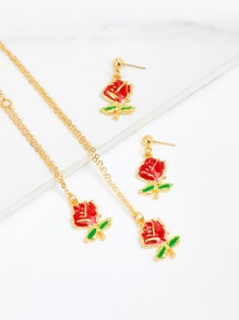 Rose Pendant Chain Necklace & Rose Drop Earrings