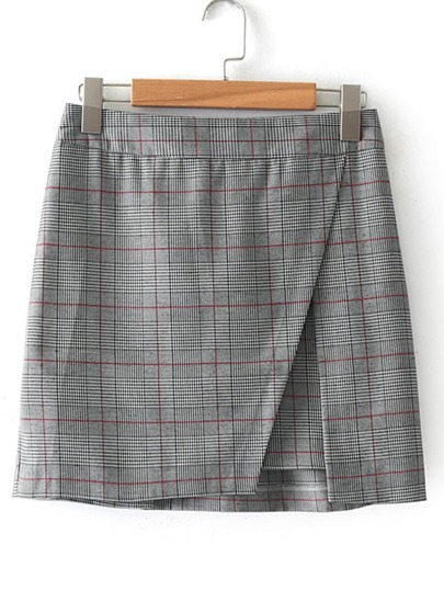 Slit Detail Plaid Skirt
