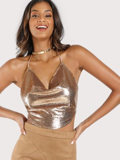 Drop Neck Sequin Halter Crop Top CHAMPAGNE