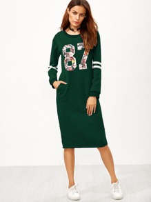 Varsity Print Slit Back Sweatshirt Dress