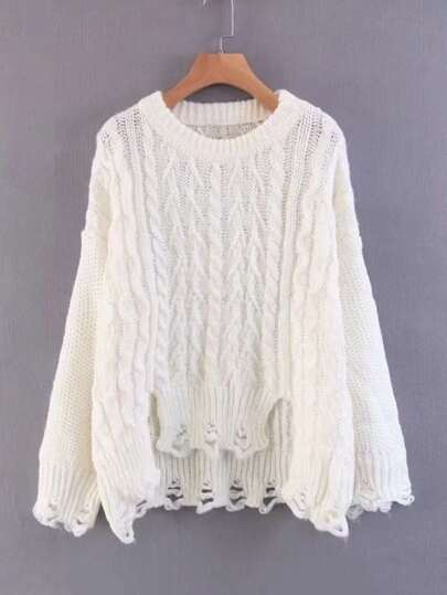 Cable Knit Ripped Sweater