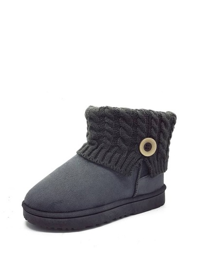 Knit Design Flat Ankle Boots