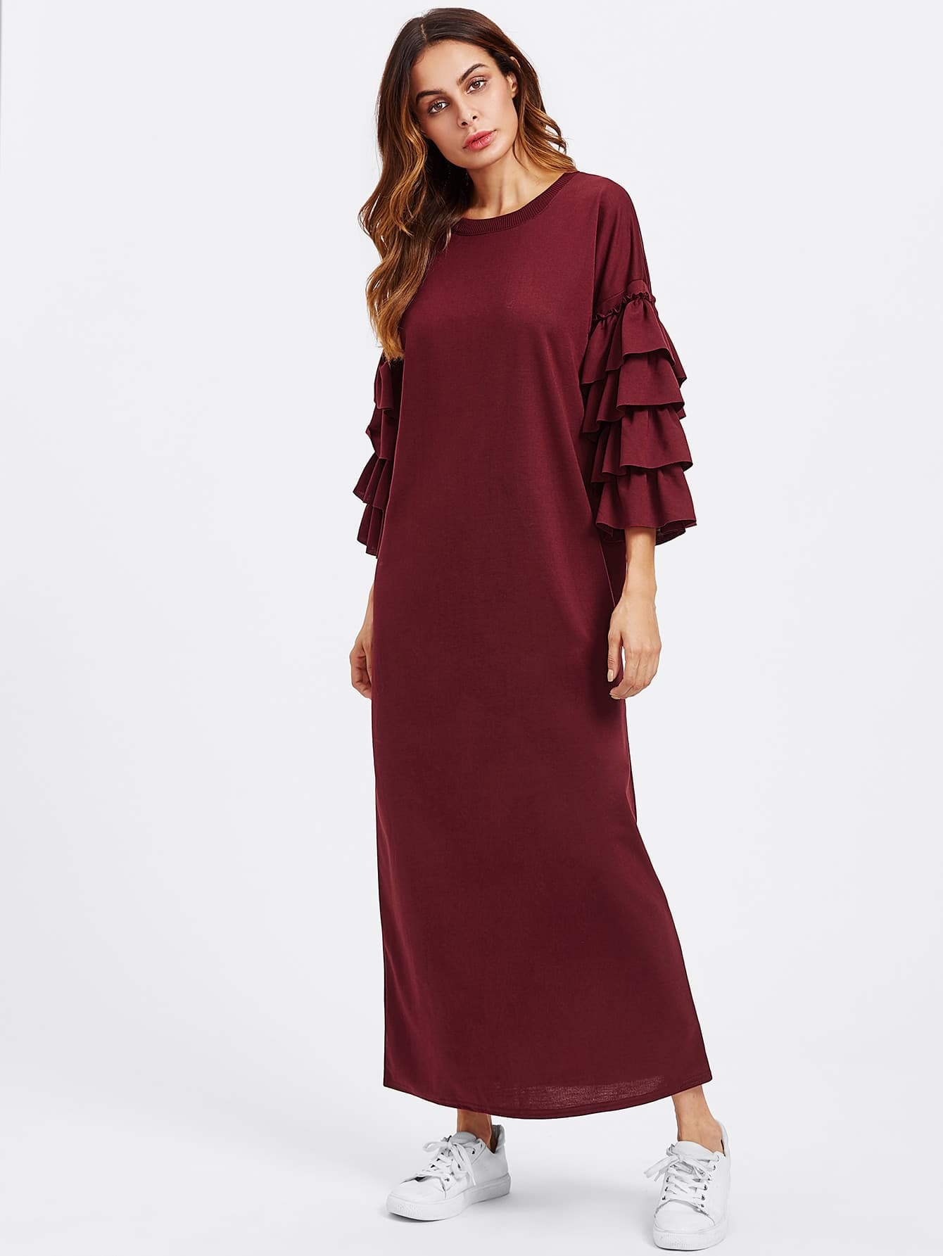 Tiered Frill Sleeve Long Hijab Dress frill detail bishop sleeve tiered botanical dress