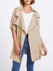 Roll Tab Sleeve Drape Collar Wrap Coat