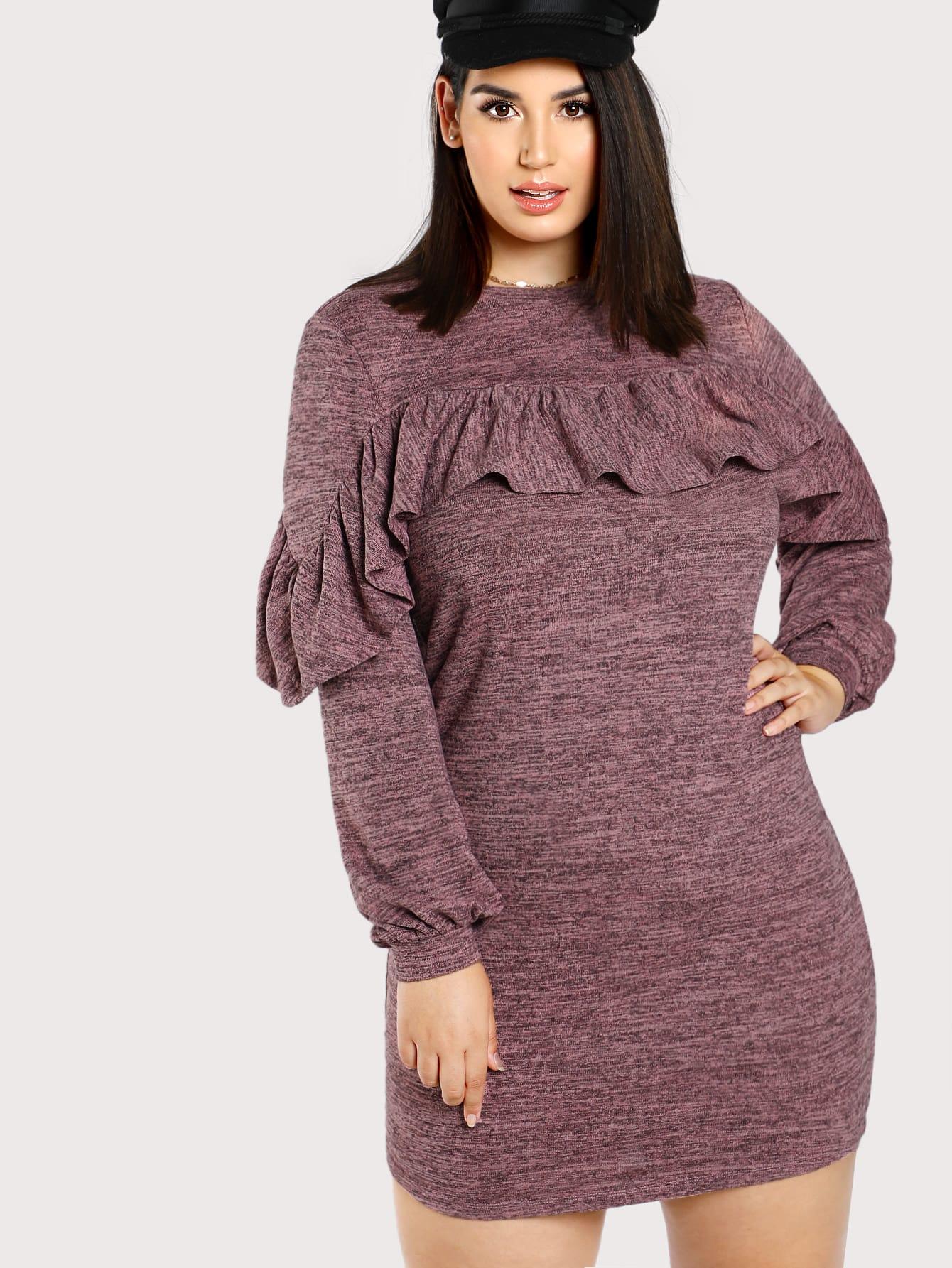 Flounce Trim Space Dye Dress