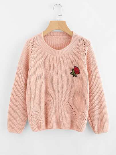 Drop Shoulder Rose Embroidered Patch Sweater