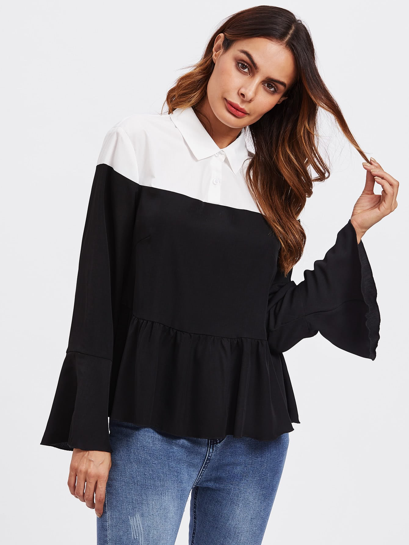 Contrast Shoulder Frill Cuff And Hem Blouse frill detail pleated cuff and hem smock top