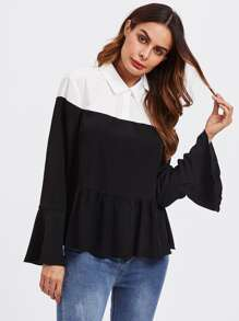 Contrast Shoulder Frill Cuff And Hem Blouse
