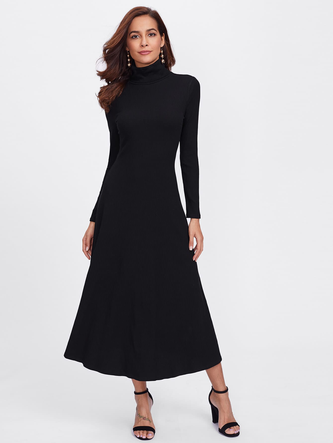 Turtleneck Rib Knit Dress rib knit off shoulder dress