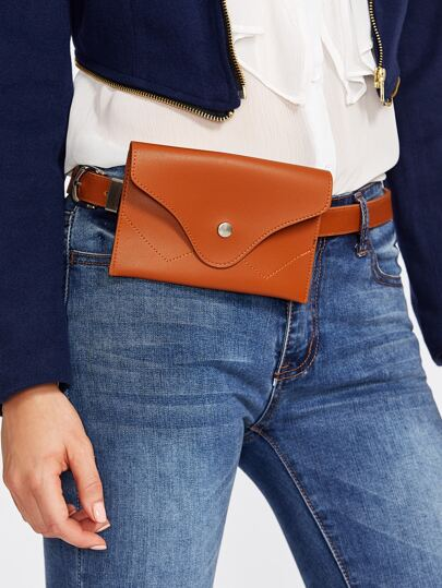 Faux Leather Belt With Pouch