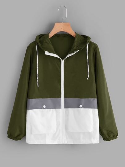 Color Block Hooded Zip Up Jacket