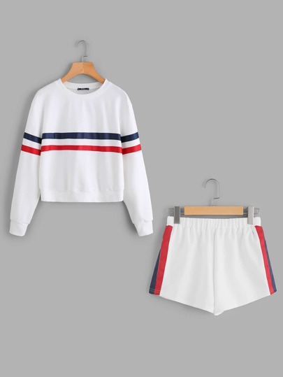 Striped Tape Applique Pullover And Shorts Set