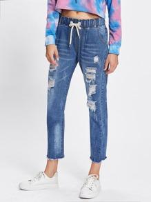 Raw Hem Ripped Drawstring Jeans