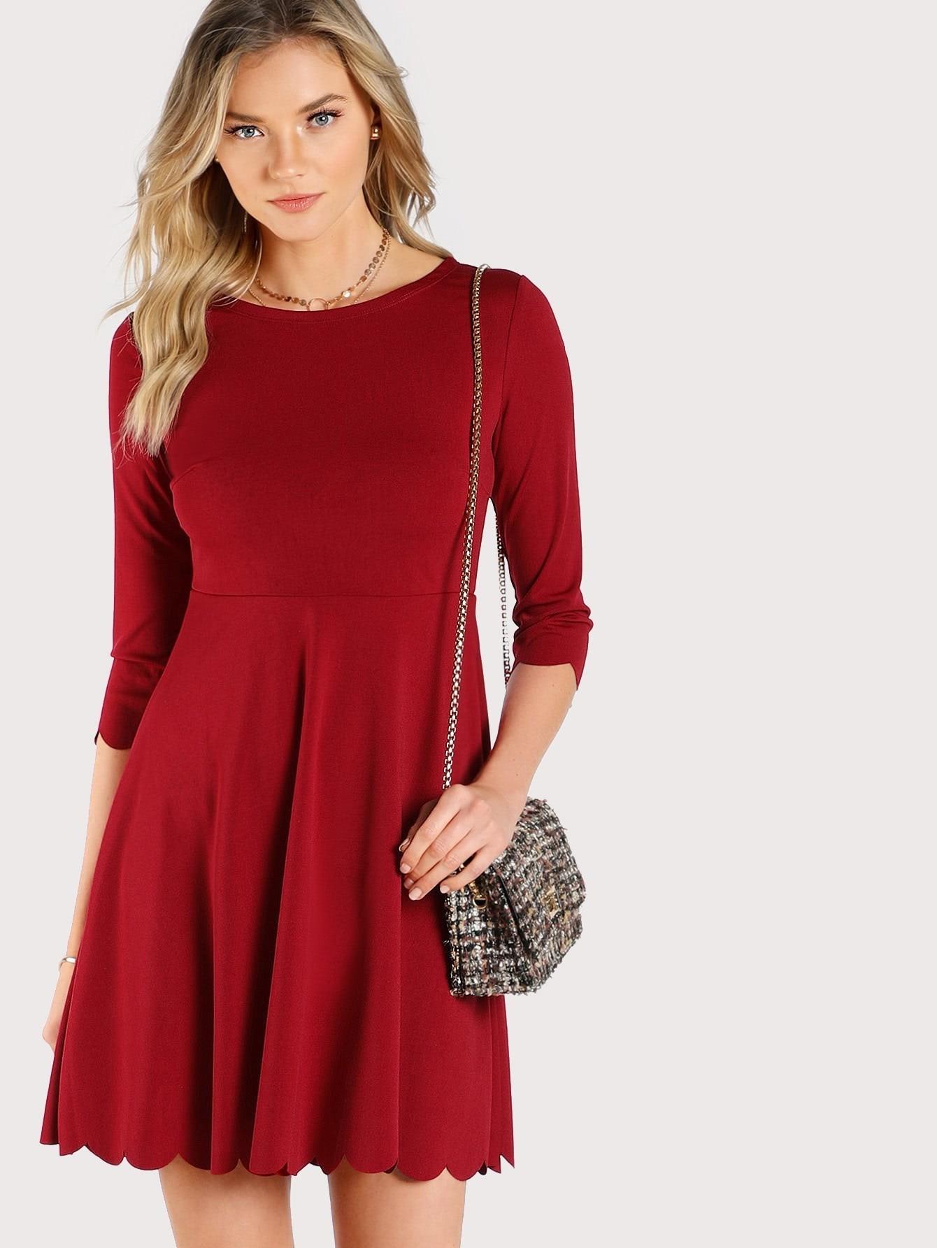 Купить Модное платье с фестонами, Alanna Whittaker, SheIn