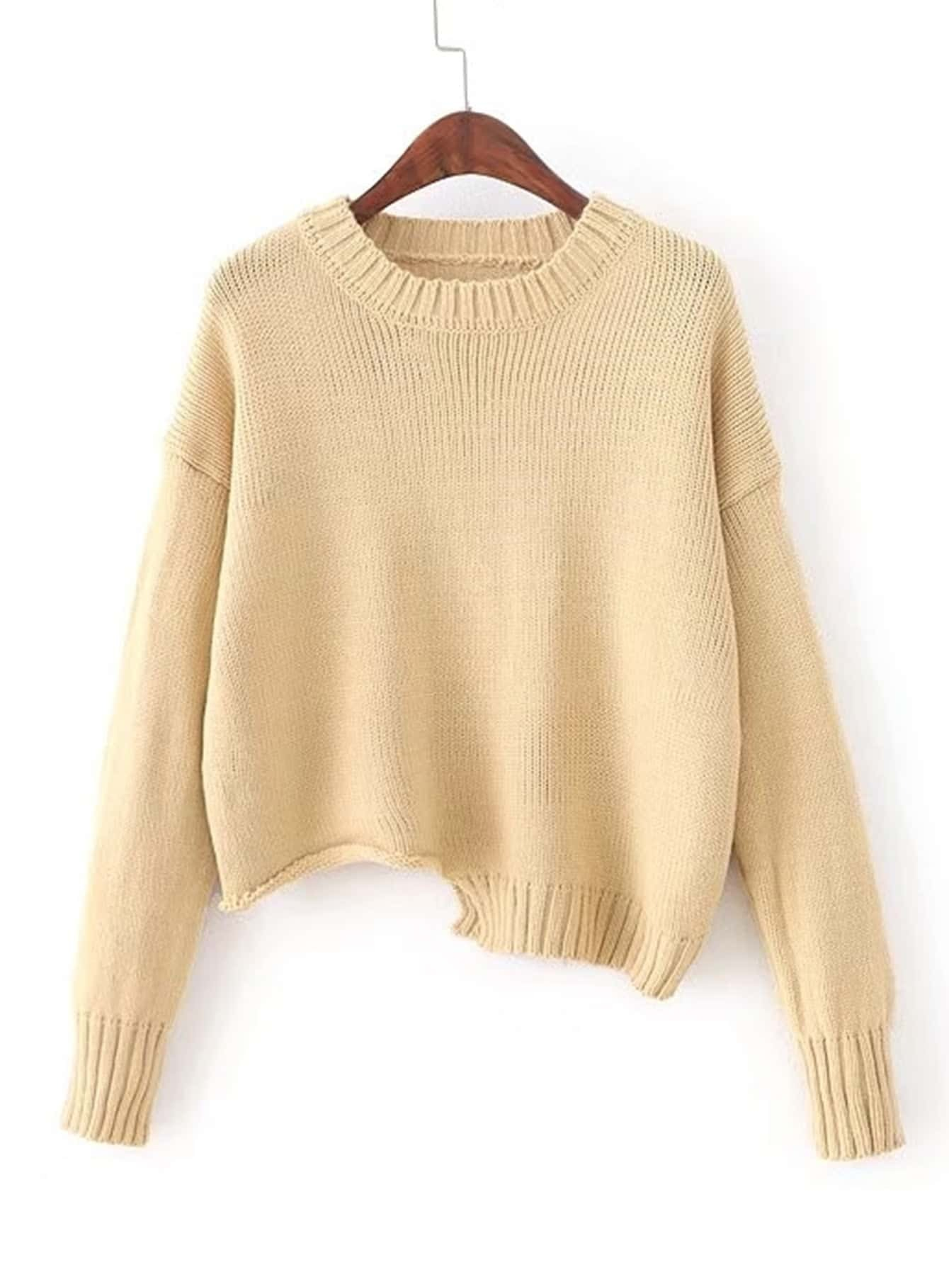 Ribbed Trim Asymmetrical Sweater sweater171009204