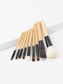 9 piezas de brocha de maquillaje con dos colores
