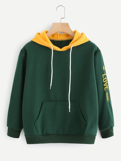 Love Embroidered Sleeve Kangaroo Pocket Hoodie